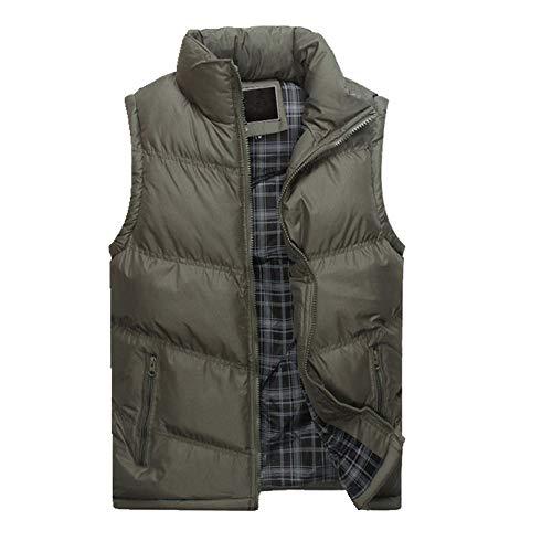 Herren Ärmellose JacketThicken Baumwolle Weste Herbst Warme Weste Winter Männliche Westen Männer Gr. M, grau