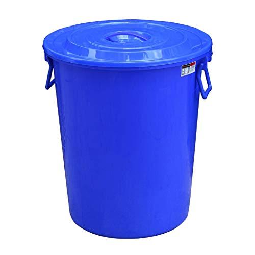 ZHAS Papelera, Bote de Basura Redondo de Plástico Azul, Cubo Industrial Grueso, Cubo de Plástico Comunitario, Azul (Color: Azul, Tamaño: 60L)