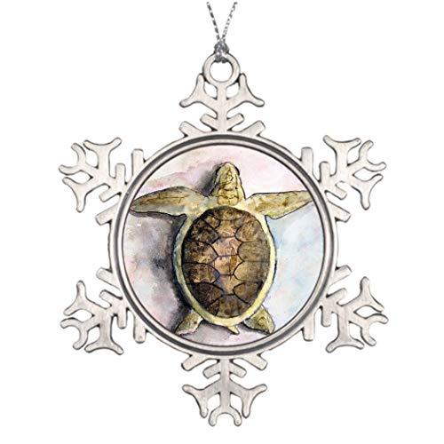 qidushop Lustige Schneeflocken-Ornamente Meeresschildkröte Malerei Kunst Wildtier-Geschenke Zinn Weihnachten Home Decor Weihnachtsbaum hängend Geschenk