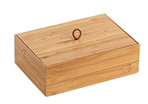 WENKO Box con tapa de bambú Terra L - Caja de almacenaje, cesta para el baño, Bambú, 22 x 7 x 15 cm, natural