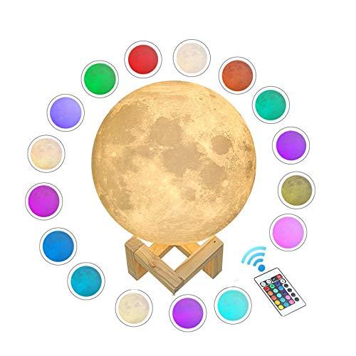 WYCY Lámpara Luna Control Tactil & Remoto Luna Lámpara Impresión 3D 16 Colores Lámpara Luna LED Carga USB y Control Remoto y Soporte,Regalos para el Cumpleaños (Lámpara Luna, 20CM)