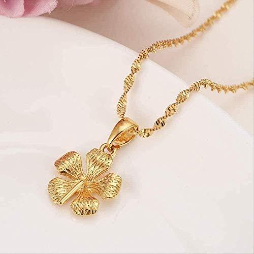 ZJJLWL Co.,ltd Collar Collar de Flores con Colgante para Mujeres/Hombres Joyas para Amantes Regalo de San Valentín Venta al por Mayor Romántico Color Dorado Elegante Encantos Joyas