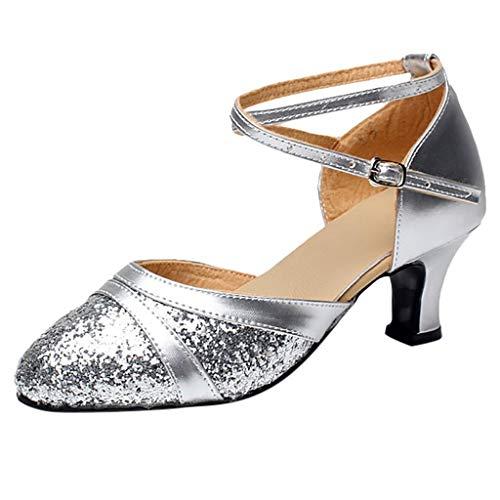 Deloito Damen Mode Elegant Ballsaal Tango Latein Salsa Tanzschuhe Party Hochzeit Sozial Pailletten Schuhe Weicher Boden Spitze Absätze Tanzschuh (35 EU, Silber-B)