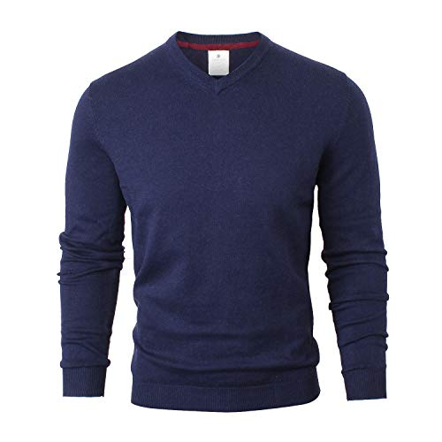 CANALSIDE V-Neck Sweater for Men Lightweight Spring Pullover Sweater Merino Wool and Cotton Knit,Large,Navy Blue