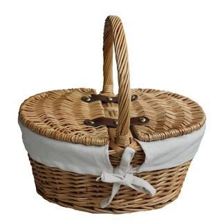 Red Hamper Oval Child Lined Lidded Vide Panier Pique-Nique