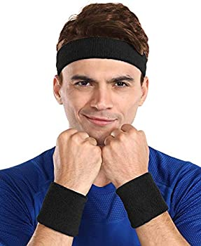 Sweatbands Set - Head & Wrist Sweat Bands - Terry Cloth Sweatbands for Tennis Working Out Sports Basketball Gym Exercise - Headband & Wristbands for Men & Women - Stretchy & Soft Cotton - Black