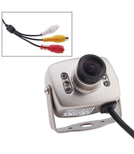 TradeShopTraesio- Mini Micro Telecamera Camera A Colori 6 LED IR RCA Audio Video Microfono Staffa