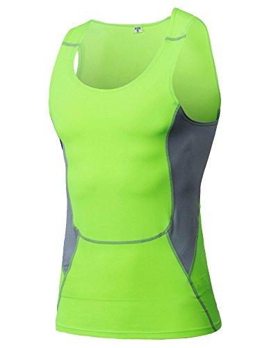 Compression Unterhemd T-Shirt Ärmellos Für Herren Basketball Fitness Laufen Tank Top Fluoreszierend Grün M