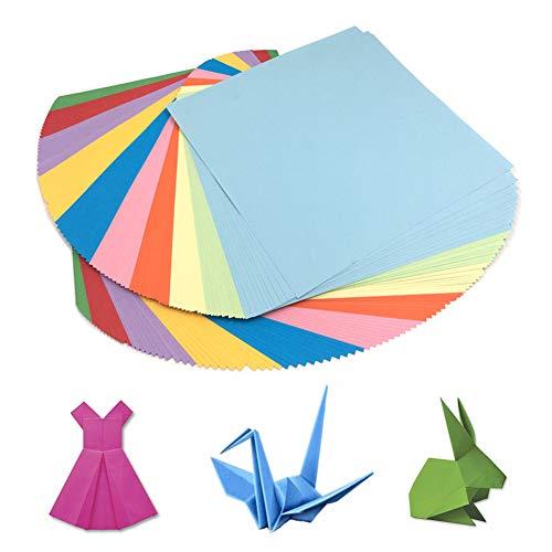 HEOCAKR Papel para Papiroflexia, 200 Hojas Papel de Origami 10 x 10 cm 10 Colores para Manualidades DIY Proyectos de Artes y Manualidades, Cuadrado Color Papel Plegable
