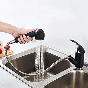 Auralum – Grifo Cocina 2 Vías con Ducha Extraíble Grifos de Fregadero Latón Cromado Mezclador de Cocina para Agua…