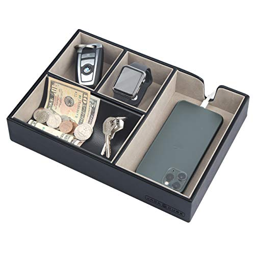 JACKCUBE DESIGN - Valet Tray Multi Leather, Desk or Dresser Organizer, Catch-all for Keys, Phone, Wallet, Coin, Jewelry and Nightstand(Black, 10.6 x 7.2 x 1.9 inches) - :MK233A