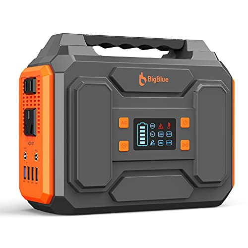 250Wh Portable Power Station, BigBlue 67500mAh Outdoors Solar Generator with 110V Pure Sine Wave AC Outlets/2 DC/4 USB Ports, Fast Charge CPAP Battery Backup, Camping Supplies with Flashlight