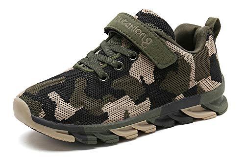MAOGO Schuhe Kinder Sportschuhe Jungen Sneaker Camouflage Atmungsaktive Freizeitschuhe für Mädchen (32, Grün)