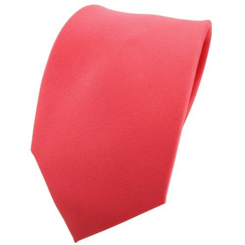 TigerTie Designer Satin Krawatte in rot rosé lachsrot einfarbig uni