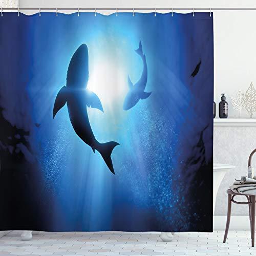 ABAKUHAUS Hai Duschvorhang, Fische, die im Ozean einkreisen, mit 12 Ringe Set Wasserdicht Stielvoll Modern Farbfest & Schimmel Resistent, 175x180 cm, Königsblau