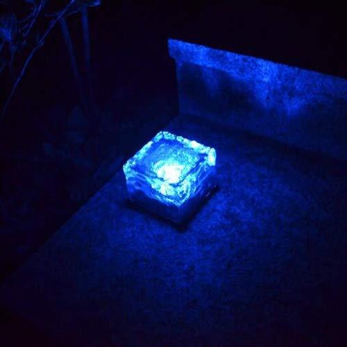 JYKFJ Baldosas de Hielo LED solares para Exteriores Luces enterradas Lámpara de césped Impermeable Luz de Camino Luz de Vidrio Luz subterránea Luces de jardín (Color: Azul)