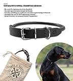Jack & Russell Collar de Perro de Cuero Premium París - Real Leather Collar Black - Collar de Perro de Cuero de búfalo con el Sello Original de J & R (S - Circunferencia del Cuello 29.5-36.5 cm)