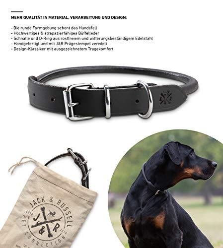 Jack & Russell Premium Leather Dog Collar Paris - Echt lederen halsband zwart - Hondenhalsband Buffelleder met origineel J&R-stempel (S - halsomtrek 29,5-36,5 cm)