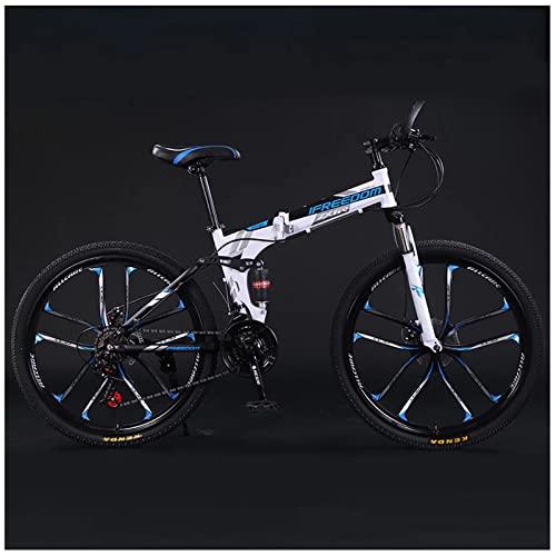 Mountainbike-Klapprad, Cross-Country-Mountainbike, Mountainbike Mit Variabler Geschwindigkeit FüR Erwachsene, 26-Zoll-Falt-Mountainbike Mit 21 GäNgen, StoßDäMpfung, Rahmen Aus Kohlenstoffstahl