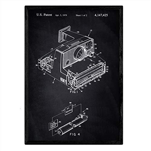 Nacnic Patent Poster mit Polaroid-Kamera. Blatt mit altem Design-Patent A3-Format mit schwarzem Hintergrund