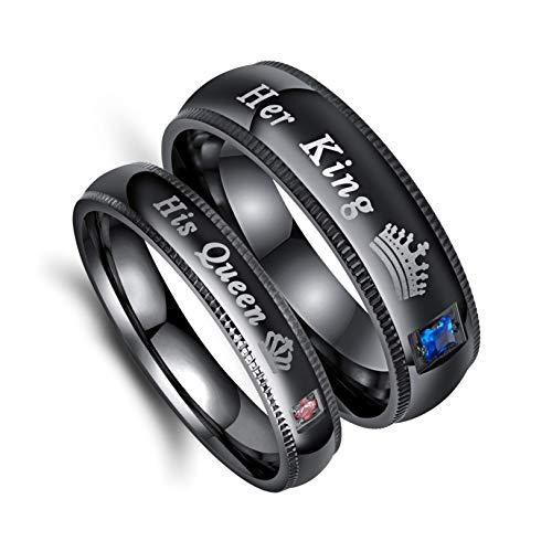 Anillo de boda de acero inoxidable negro para hombre y mujer, para boda, aniversario de novia, compromiso negro