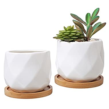 3-Inch White Ceramic Diamond-Faceted Planters with Removable Bamboo Trays, Set of 2
