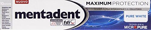 Mentadent Dentifricio Maximum Protection Pure White 75 ml