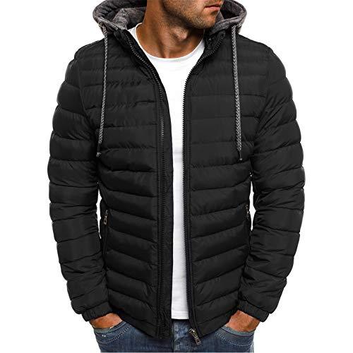 Men's Lightweight Warm Puffer Jackets Autumn Winter Down Jacket Thermal Hybrid Hiking Coat Water Resistant Packable Black