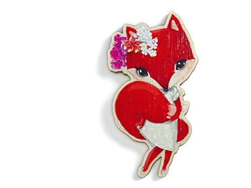 Elsterchen Brosche aus Holz für Kinder *** Foxy Lady ***