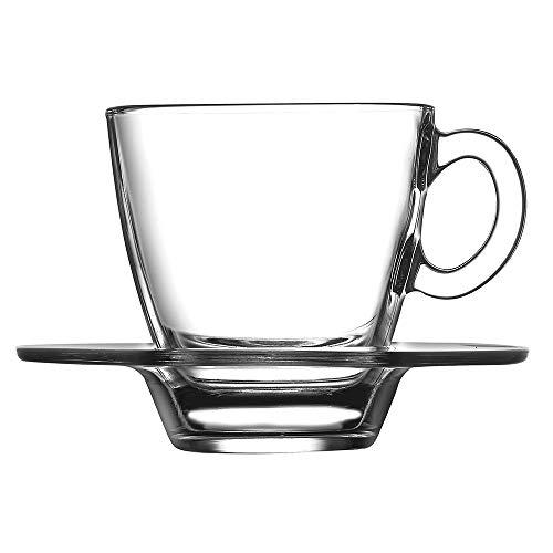 Pasabahce Aqua Service de Tasses à Café avec assiettes, Verre, Transparent, 6 pièces
