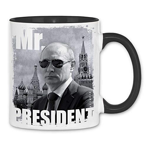 Royal Shirt rs18 Tasse Mr. President | Putin Sonnenbrille Moskau Roter Platz, Farbe :White - Black