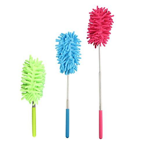 3個ダスター はたき ほこり取り ほこりキャッチャー ダスターブラシ 掃除 ブラシ 隙間掃除 75cmまで 伸びる 洗える ブラシ取り外し可能 除塵 家庭用 車用 3色