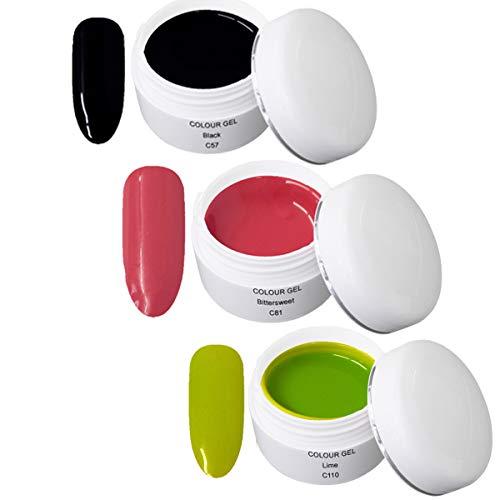 Gel UV Coloré Set P - Nail Art Set 3 x 5ml - 1x 5ml UV Colour Gel C057 Black 1x 5ml UV Colour Gel C081 Bittersweet 1x 5ml UV Colour Gel C110 Lime