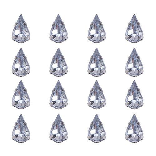 PandaHall 50PCS Perline Rhinestone Strass Acrilico Forma Goccia Perline Ottone, Colore Metallo Platino,10x6x5mm, Foro: 1mm