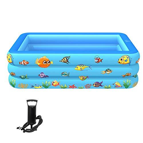 HT&PJ Piscina hinchable para niños, gruesa, tres capas, con bomba de aire, para exteriores, jardín, patio trasero, verano (azul)