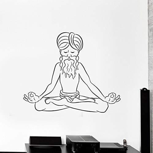 Applique Da Parete In Vinile Vecchia Meditazione Studio Di Yoga Yoga Hindu Sticker Murale...