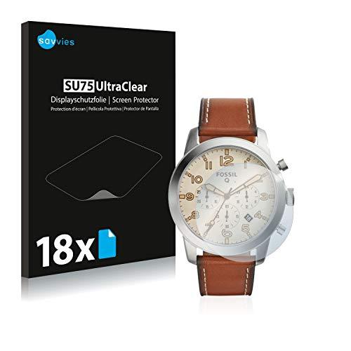 Savvies 18x Schutzfolie kompatibel mit Fossil Q Pilot 54 Bildschirmschutz-Folie Ultra-transparent