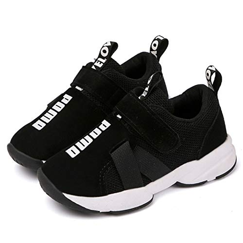 Daclay Zapatos niños Deportivo Transpirable y Transpirable con Parte Superior de Cuero cómoda con Zapatillas Velcro niña Sneakers Negro 33EU
