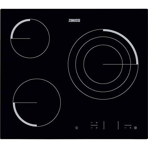 Zanussi Z6123IOK Placa vitrocerámica, Biselada, 3 zonas de cocción, Zona Triple de 27 cm, Control táctil, Bloqueo Seguridad, Sin Marco, Negro, 60 cm