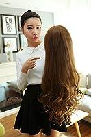 AiHua Huang 赤いかつら自然の長い巻き毛の女性ビッグウェーブ女神のネットワークモデルかつらローズ義烏ネット (Color : Linen (air bangs))