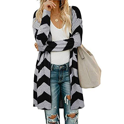 AODONG Womens Cardigan Lightweight Womens Open Front Sweater Loose Knitted Cardigan Long Sleeve Knit Outwear Black