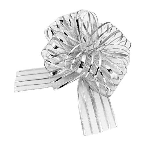 Oblique Unique® Geschenk Schleife mit Geschenkband Glänzend für Geschenke Tüten Zuckertüten zum Basteln Dekorieren Verzieren - wählbar (Silber)