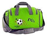Mein Zwergenland Multi-Sporttasche in Lime Grün mit Schuhfach mit Name, 41 L, Fußball Torjäger 19