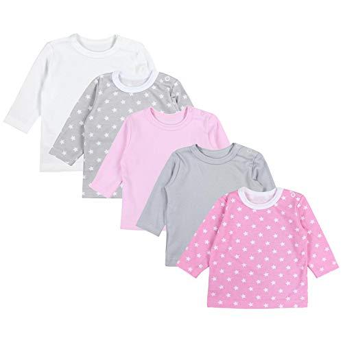 TupTam Baby Mädchen Langarmshirt Sterne 5er Pack, Farbe: Farbenmix 1, Größe: 56