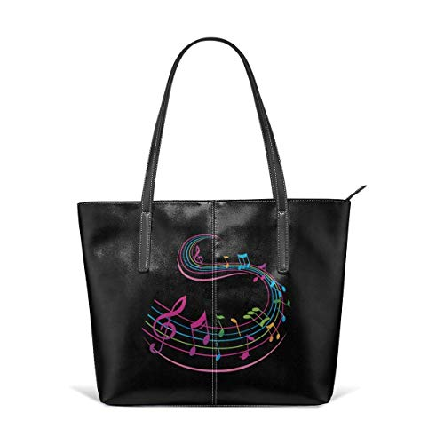 BAODANLA Borse a spalla da donna Women's Soft Leather Tote Shoulder Bag Music Notes Big Capacity Casual Portable Handbag Purses Work Travel Bag