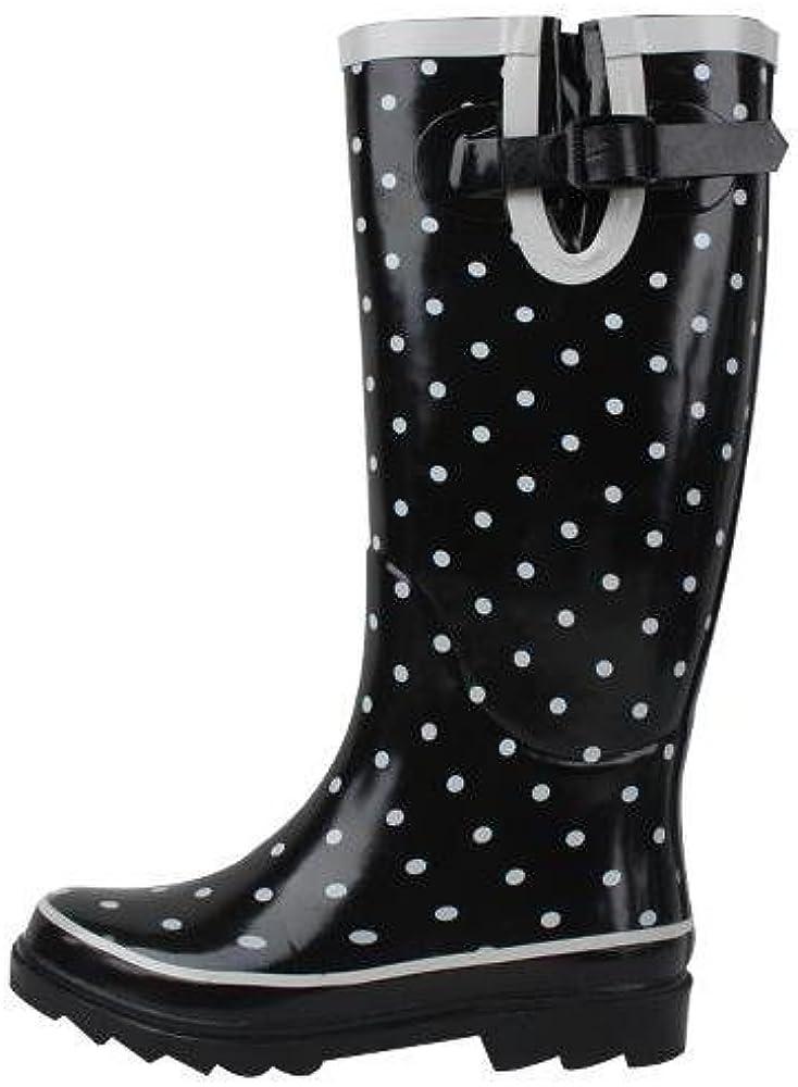 New Sunville Brand Women's Rubber Rain Boots,8 B(M) US,Polka Dot