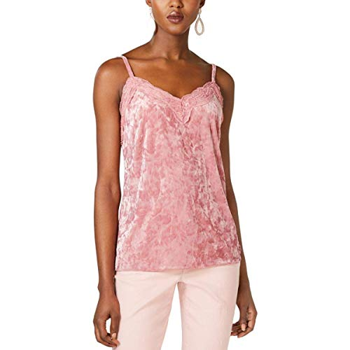 INC Womens Velvet Lace Trim Camisole Top Pink M