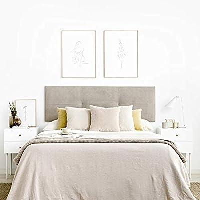Bonito Diseño: Estel cabecero tapizado acolchado para pared es el complemento perfecto para tu habitación. Gran Calidad: Tapizado de alta calidad. *Producto fabricado en España. Uso y Medidas Reales Cabecero: Para cama de 150, 165x52x3cm (AxHxD) Rápi...