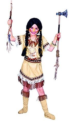 Faschingsfete Kinder Indianer Kostüm mit Fransen und Federn, 116-122, 6-7 Jahre, Mehrfarbig
