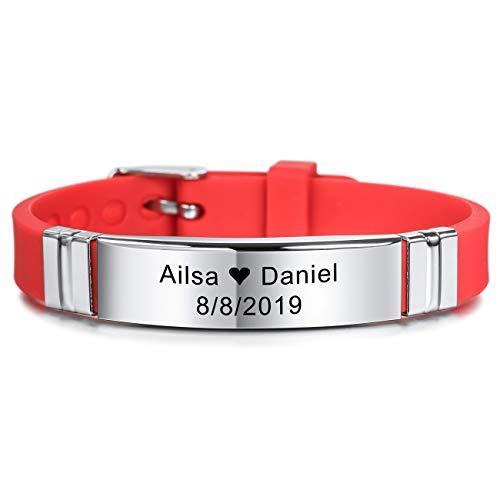 MeMeDIY 13mm Large Identification De Nom De Sport Réglable en Silicone Bracelet Personnalisé pour Homme Femme Enfant Caoutchouc en Acier Inoxydable - Gravure Personnalisée (Rouge Couleur)